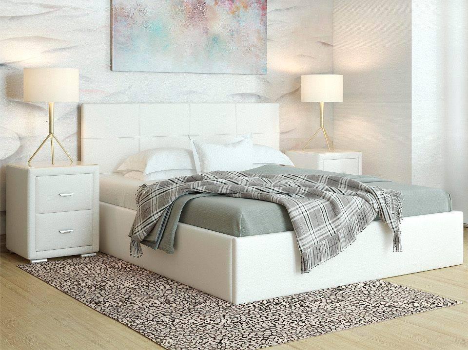 Кровать Alba с п/м, цвет: Экокожа Белая